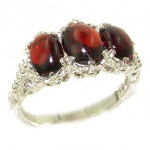 Sterling Silver Natural 3.3ct Cabochon Garnet Ladies Ring