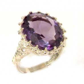 Sterling Silver Large 16x12mm Oval 8.5ct Natural Amethyst Ring