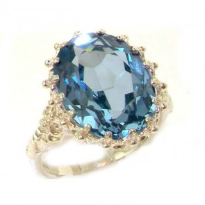 Sterling Silver Large 16x12mm Oval 10ct Synthetic Aquamarine Ring