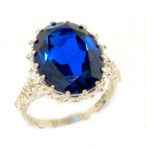 Sterling Silver Large 16x12mm Oval 11ct Synthetic Blue Sapphire Ring