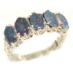 Sterling Silver Colorful Opal Ring