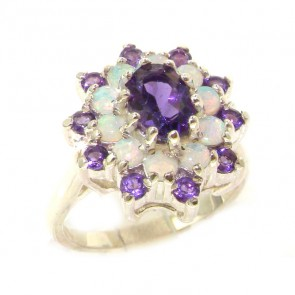 Sterling Silver Natural Amethyst & Fiery Opal 3 Tier Large Cluster Ring