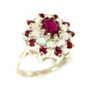 Sterling Silver Natural Ruby & Fiery Opal 3 Tier Large Cluster Ring