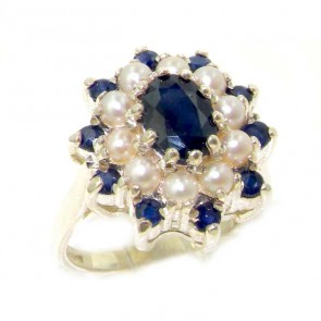 Sterling Silver Natural Sapphire & Pearl 3 Tier Large Cluster Ring