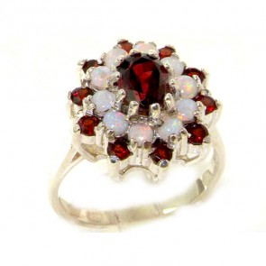 Sterling Silver Natural Garnet & Fiery Opal 3 Tier Large Cluster Ring