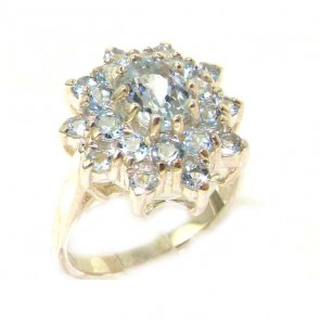 Sterling Silver Natural Aquamarine 3 Tier Large Cluster Ring