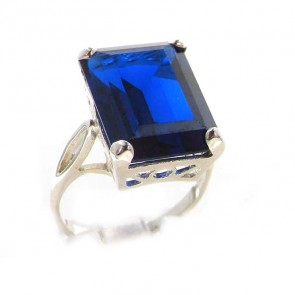Sterling Silver Large 16x12mm Octagon cut Synthetic Sapphire Ring