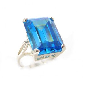 Sterling Silver Ladies Large Solitaire Synthetic Paraiba Tourmaline Basket Ring