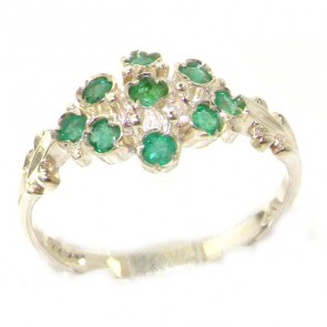 Sterling Silver Silver Natural Emerald Ring