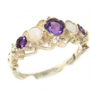 Sterling Silver Natural Amethyst & Opal Ring of English Georgian Design