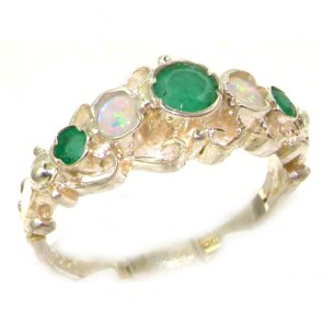 Sterling Silver Natural Emerald & Opal Ring of English Georgian Design