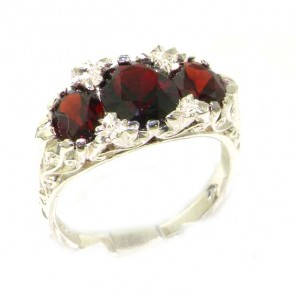 Sterling Silver Natural Garnet Victorian Designed Ring