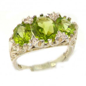 Large  Sterling Silver Natural Peridot Victorian Designed Ring