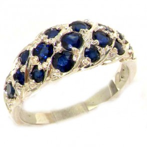 Sterling Silver Natural Blue Sapphire Band Ring