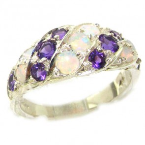 Sterling Silver Natural Fiery Opal & Amethyst Band Ring