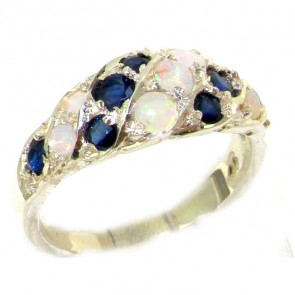 Sterling Silver Natural Fiery Opal & Sapphire Band Ring