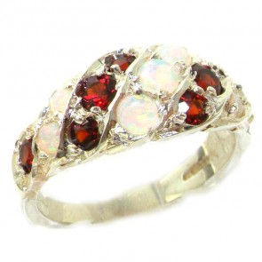 Sterling Silver Fiery Opal & Garnet Band Ring