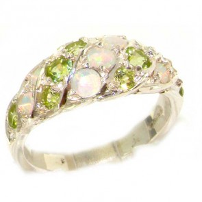 Sterling Silver Natural Fiery Opal & Peridot Band Ring