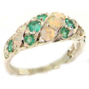 Sterling Silver Natural Fiery Opal & Emerald Band Ring