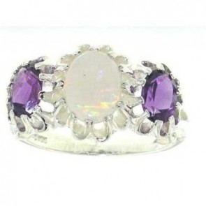 Sterling Silver Ladies Opal and Amethyst Ring