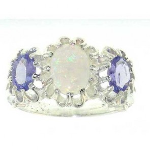 Sterling Silver Fiery Opal & Tanzanite Ring