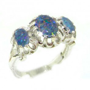 Sterling Silver Ladies Large Opal Trilogy Ring