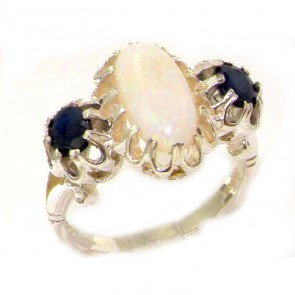 Sterling Silver Natural Opal & Sapphire Victorian Inspired Ring