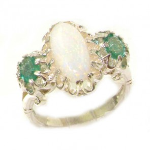 Sterling Silver Natural Opal & Emerald Victorian Inspired Ring