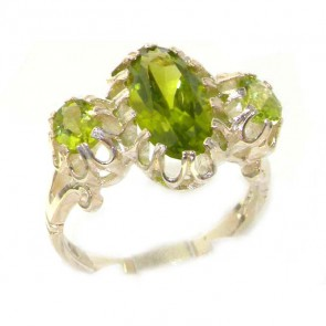 Large  Sterling Silver Natural Vibrant Peridot Victorian Inspired Ring