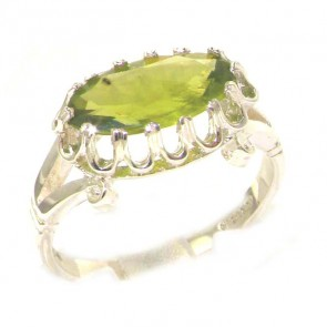 Sterling Silver Genuine 2ct Peridot English Victorian Inspired Ring