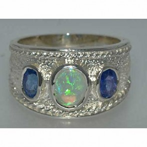 Sterling Silver Fiery Opal & Tanzanite Turkish Style Ring