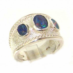 Sterling Silver Ladies Turkish Style Wide Opal Eternity Ring