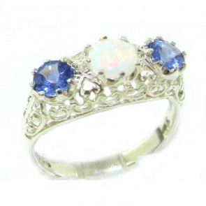 Sterling Silver Genuine Opal & Tanzanite English Filigree Trilogy Ring