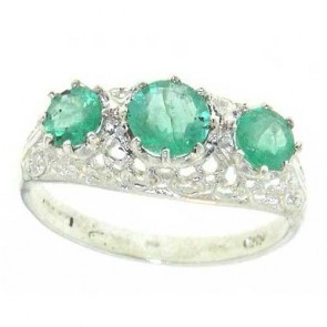 Sterling Silver Vibrant Emerald Ring