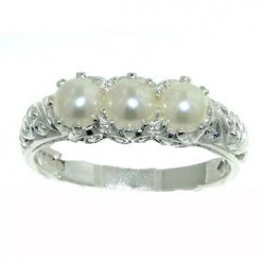 Sterling Silver Ladies Pearl Ring