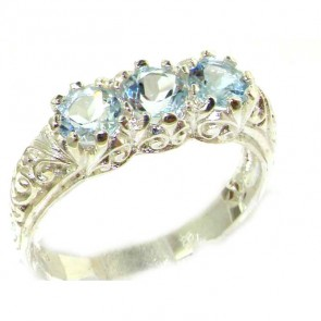 Sterling Silver Natural Aquamarine Art Nouveau Carved Trilogy Ring