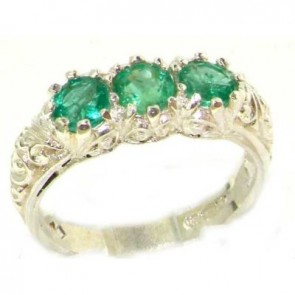 Sterling Silver Ladies Emerald Trilogy Eternity Band Ring