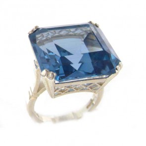 Sterling Silver Large 29ct Octagon Cut Synthetic Aquamarine Ring