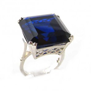 Sterling Silver Ladies Large Square Octagon Solitaire Synthetic Sapphire Basket Ring
