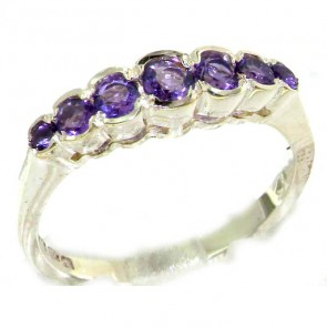 Sterling Silver Ladies Natural Amethyst Contemporary Style Eternity Band Ring