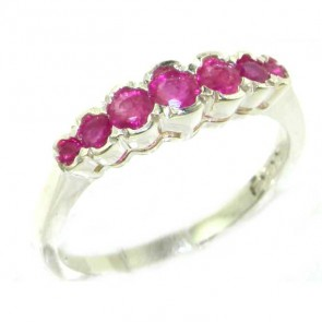 Sterling Silver Ladies Natural Ruby Contemporary Style Eternity Band Ring