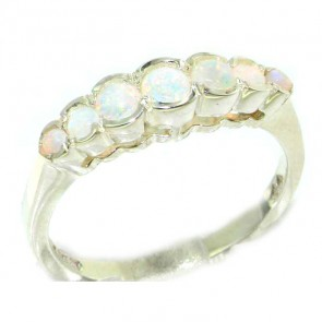 Sterling Silver Ladies Natural Fiery Opal Contemporary Style Eternity Band Ring