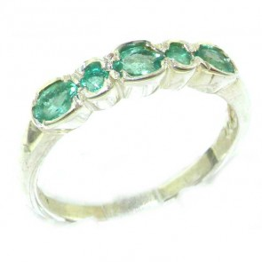 Sterling Silver Ladies Natural Emerald Contemporary Style Eternity Band Ring