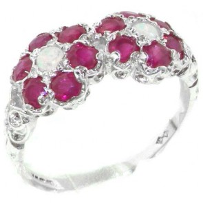 Sterling Silver Natural Ruby & Fiery Opal Double Daisy Ring