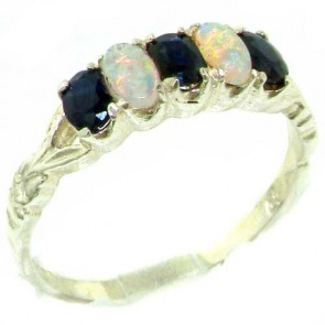 Sterling Silver Natural Sapphire & Fiery Opal Vintage Style Ring