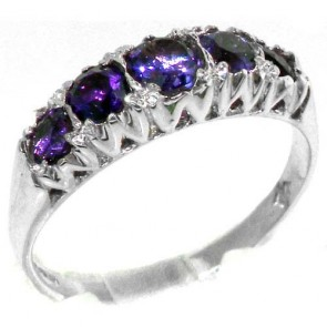 Sterling Silver Natural Amethyst Vintage Style Band Ring