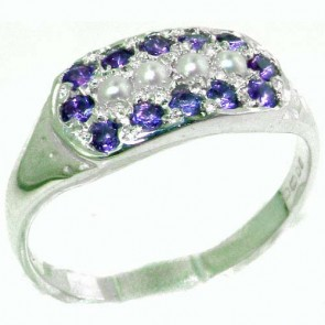 Sterling Silver Vibrant Natural Amethyst and Pearl Ring