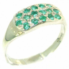Sterling Silver Vibrant Green Natural Emerald Ring