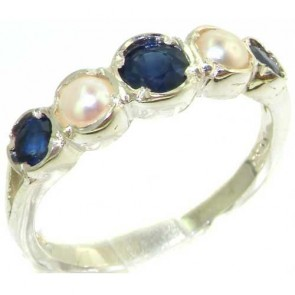 Sterling Silver Natural Sapphire & Pearl Womens Ring