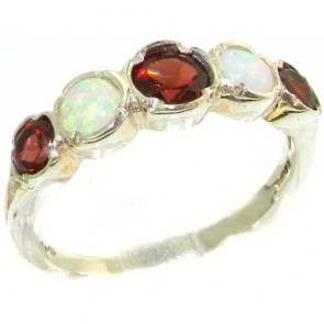 Sterling Silver Natural Garnet & Fiery Opal Womens High Quality Ring